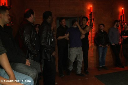 Photo number 1 from Muscular sub is treated like garbage at a dungeon party shot for Bound in Public on Kink.com. Featuring Parker London and Jason Miller in hardcore BDSM & Fetish porn.