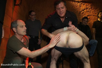 Photo number 3 from Muscular sub is treated like garbage at a dungeon party shot for Bound in Public on Kink.com. Featuring Parker London and Jason Miller in hardcore BDSM & Fetish porn.