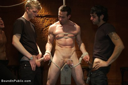 Photo number 5 from Muscular sub is treated like garbage at a dungeon party shot for Bound in Public on Kink.com. Featuring Parker London and Jason Miller in hardcore BDSM & Fetish porn.
