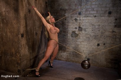 Photo number 10 from Smoking hot blond MILF with HUGE tits   Suffers brutal crotch rope, pulled to the breaking point. shot for Hogtied on Kink.com. Featuring Holly Halston in hardcore BDSM & Fetish porn.