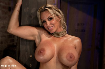 Photo number 15 from Holly Halston all American MILF<br>Her massive breasts oiled watered & bound, she can't stop cumming shot for Hogtied on Kink.com. Featuring Holly Halston in hardcore BDSM & Fetish porn.