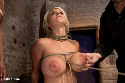 Photo number 6 from Holly Halston all American MILF<br>Her massive breasts oiled watered & bound, she can't stop cumming shot for Hogtied on Kink.com. Featuring Holly Halston in hardcore BDSM & Fetish porn.
