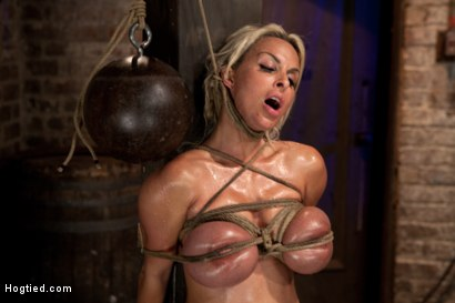 Photo number 11 from Holly Halston all American MILF<br>Her massive breasts oiled watered & bound, she can't stop cumming shot for Hogtied on Kink.com. Featuring Holly Halston in hardcore BDSM & Fetish porn.