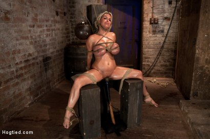 Photo number 14 from Holly Halston all American MILF<br>Her massive breasts oiled watered & bound, she can't stop cumming shot for Hogtied on Kink.com. Featuring Holly Halston in hardcore BDSM & Fetish porn.