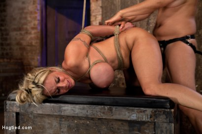Photo number 10 from Hot MILF, is throat fucked, strap on fucked and made to cum over and over!   OH THE HUGE-MAMMARIES! shot for Hogtied on Kink.com. Featuring Holly Halston in hardcore BDSM & Fetish porn.