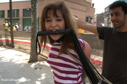 Photo number 7 from Adorable 18 Year old is Made to Crawl on her Knees, Suck Cock, and get Ass Pounded in Public shot for Public Disgrace on Kink.com. Featuring James Deen and Dulce Mariposa in hardcore BDSM & Fetish porn.