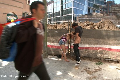 Photo number 9 from Adorable 18 Year old is Made to Crawl on her Knees, Suck Cock, and get Ass Pounded in Public shot for Public Disgrace on Kink.com. Featuring James Deen and Dulce Mariposa in hardcore BDSM & Fetish porn.