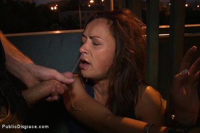 Photo number 14 from Spanish Hottie gets Throat Fucked on the Street<br>Bound in front of a busy cafe! shot for Public Disgrace on Kink.com. Featuring James Deen and Sara May in hardcore BDSM & Fetish porn.