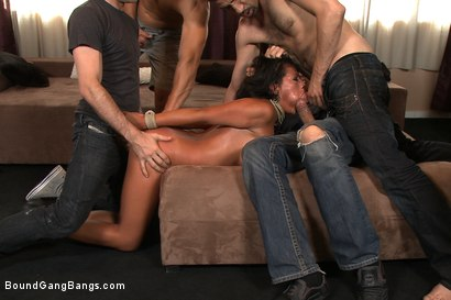 Photo number 2 from Home Invasion shot for Bound Gang Bangs on Kink.com. Featuring James Deen, Steve Holmes, Zenza Raggi, Yoha, Renato and Mugur in hardcore BDSM & Fetish porn.