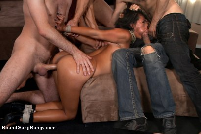 Photo number 6 from Home Invasion shot for Bound Gang Bangs on Kink.com. Featuring James Deen, Steve Holmes, Zenza Raggi, Yoha, Renato and Mugur in hardcore BDSM & Fetish porn.