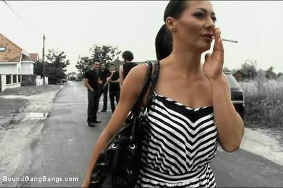 Photo number 2 from Legendary Dom Sandra Romain Returns as a Submissive GangBang Slut shot for Bound Gang Bangs on Kink.com. Featuring Sandra Romain, Steve Holmes and James Deen in hardcore BDSM & Fetish porn.