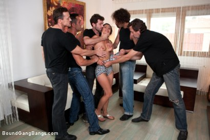 Photo number 3 from Legendary Dom Sandra Romain Returns as a Submissive GangBang Slut shot for Bound Gang Bangs on Kink.com. Featuring Sandra Romain, Steve Holmes and James Deen in hardcore BDSM & Fetish porn.