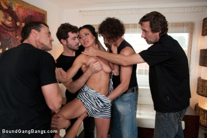 Photo number 4 from Legendary Dom Sandra Romain Returns as a Submissive GangBang Slut shot for Bound Gang Bangs on Kink.com. Featuring Sandra Romain, Steve Holmes and James Deen in hardcore BDSM & Fetish porn.