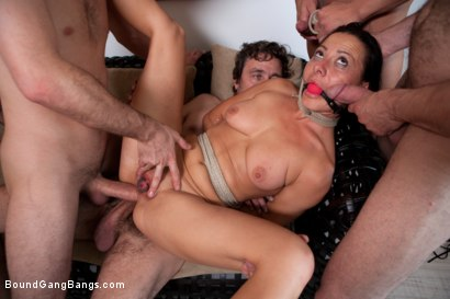 Photo number 8 from Legendary Dom Sandra Romain Returns as a Submissive GangBang Slut shot for Bound Gang Bangs on Kink.com. Featuring Sandra Romain, Steve Holmes and James Deen in hardcore BDSM & Fetish porn.