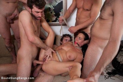 Photo number 9 from Legendary Dom Sandra Romain Returns as a Submissive GangBang Slut shot for Bound Gang Bangs on Kink.com. Featuring Sandra Romain, Steve Holmes and James Deen in hardcore BDSM & Fetish porn.