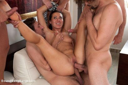 Photo number 5 from Legendary Dom Sandra Romain Returns as a Submissive GangBang Slut shot for Bound Gang Bangs on Kink.com. Featuring Sandra Romain, Steve Holmes and James Deen in hardcore BDSM & Fetish porn.