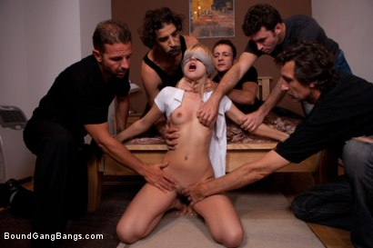 Photo number 4 from Hot Little Blonde Tied up and Gang Banged shot for Bound Gang Bangs on Kink.com. Featuring James Deen, Frank Gun, Steve Holmes, Zenza Raggi, Sasha Rose and David Perry in hardcore BDSM & Fetish porn.