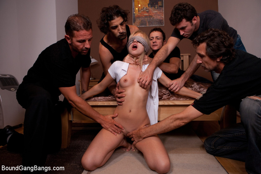 BoundGangBangs.com - Hot Little Blonde Tied up and Gang Banged