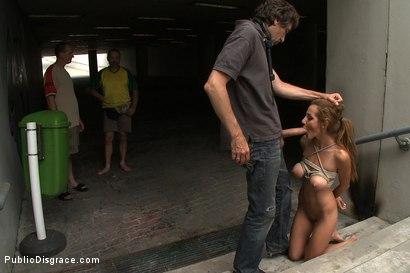 Photo number 4 from Sandra Romain's Little Sister Does her First Porn Ever!!!!! shot for Public Disgrace on Kink.com. Featuring Alice Romain and Steve Holmes in hardcore BDSM & Fetish porn.
