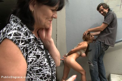 Photo number 6 from Sandra Romain's Little Sister Does her First Porn Ever!!!!! shot for Public Disgrace on Kink.com. Featuring Alice Romain and Steve Holmes in hardcore BDSM & Fetish porn.