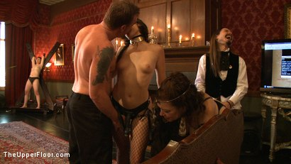 Photo number 14 from Stefanos' Community Brunch shot for The Upper Floor on Kink.com. Featuring Maestro Stefanos, Skin Diamond, Nerine Mechanique and Lilla Katt in hardcore BDSM & Fetish porn.