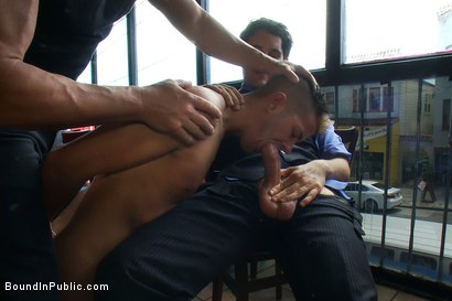 Photo number 8 from Restaurant patrons abuse a bad waiter and make him serve naked in public. shot for Bound in Public on Kink.com. Featuring Nico and Tyler Saint in hardcore BDSM & Fetish porn.