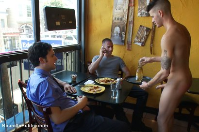 Photo number 6 from Restaurant patrons abuse a bad waiter and make him serve naked in public. shot for Bound in Public on Kink.com. Featuring Nico and Tyler Saint in hardcore BDSM & Fetish porn.