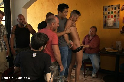 Photo number 1 from Restaurant patrons abuse a bad waiter and make him serve naked in public. shot for Bound in Public on Kink.com. Featuring Nico and Tyler Saint in hardcore BDSM & Fetish porn.