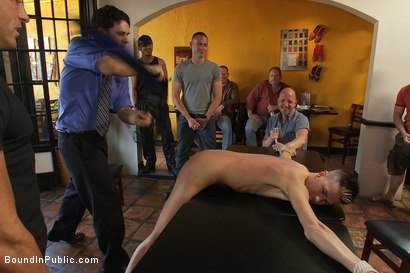 Photo number 4 from Restaurant patrons abuse a bad waiter and make him serve naked in public. shot for Bound in Public on Kink.com. Featuring Nico and Tyler Saint in hardcore BDSM & Fetish porn.