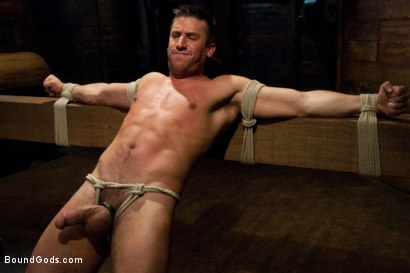 Photo number 4 from Logan Scott gets tied up and worked over for the first time. shot for Bound Gods on Kink.com. Featuring Logan Scott and DJ in hardcore BDSM & Fetish porn.
