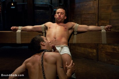 Photo number 1 from Logan Scott gets tied up and worked over for the first time. shot for Bound Gods on Kink.com. Featuring Logan Scott and DJ in hardcore BDSM & Fetish porn.