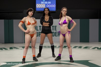 Photo number 2 from SUMMER VENGEANCE TOURNAMENT: Rank 16 vs 15<br>Only non-scripted sex wrestling tourney in the world! shot for Ultimate Surrender on Kink.com. Featuring Iona Grace and Juliette March in hardcore BDSM & Fetish porn.