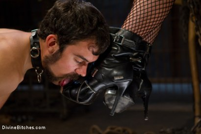"Photo number 13 from From Worthless To Worthy In Five Mistresses: Episode 3, ""Chastity CBT"" shot for Divine Bitches on Kink.com. Featuring Scout and Felony in hardcore BDSM & Fetish porn."