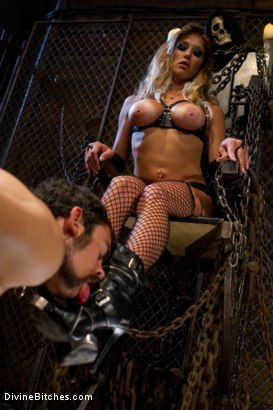 """Photo number 6 from From Worthless To Worthy In Five Mistresses: Episode 3, """"Chastity CBT"""" shot for Divine Bitches on Kink.com. Featuring Scout and Felony in hardcore BDSM & Fetish porn."""