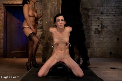 Photo number 14 from Elise is held down by her own HUGE nipples, held down on a Sybian!<br>Any movement is nipple PAIN! shot for Hogtied on Kink.com. Featuring Isis Love and Elise Graves in hardcore BDSM & Fetish porn.