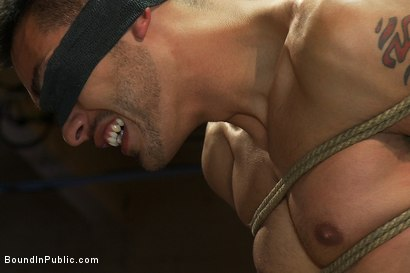 Photo number 3 from Blindfolded stud sucks strangers cocks at a party. shot for Bound in Public on Kink.com. Featuring Spencer Reed and Emanuel in hardcore BDSM & Fetish porn.