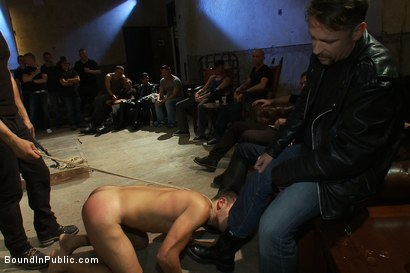 Photo number 4 from Blindfolded stud sucks strangers cocks at a party. shot for Bound in Public on Kink.com. Featuring Spencer Reed and Emanuel in hardcore BDSM & Fetish porn.