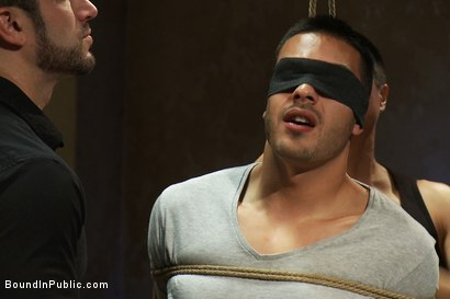 Photo number 1 from Blindfolded stud sucks strangers cocks at a party. shot for Bound in Public on Kink.com. Featuring Spencer Reed and Emanuel in hardcore BDSM & Fetish porn.