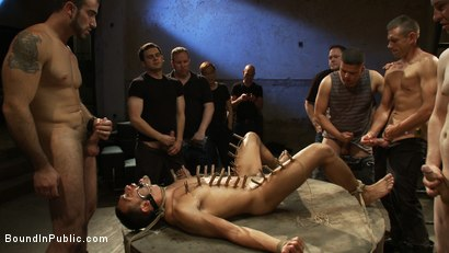 Photo number 12 from Blindfolded stud sucks strangers cocks at a party. shot for Bound in Public on Kink.com. Featuring Spencer Reed and Emanuel in hardcore BDSM & Fetish porn.