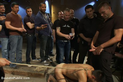 Photo number 8 from Blindfolded stud sucks strangers cocks at a party. shot for Bound in Public on Kink.com. Featuring Spencer Reed and Emanuel in hardcore BDSM & Fetish porn.