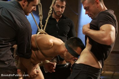 Photo number 2 from Blindfolded stud sucks strangers cocks at a party. shot for Bound in Public on Kink.com. Featuring Spencer Reed and Emanuel in hardcore BDSM & Fetish porn.