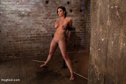 Photo number 4 from Hot 20 something with huge tits<br>Hair tied back, gagged, bent, brought to her toes Brutal Orgasms! shot for Hogtied on Kink.com. Featuring Mackenzee Pierce in hardcore BDSM & Fetish porn.