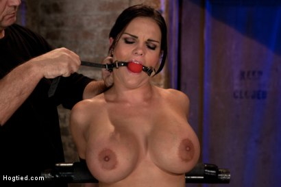Photo number 5 from Hot 20 something with huge tits<br>Hair tied back, gagged, bent, brought to her toes Brutal Orgasms! shot for Hogtied on Kink.com. Featuring Mackenzee Pierce in hardcore BDSM & Fetish porn.