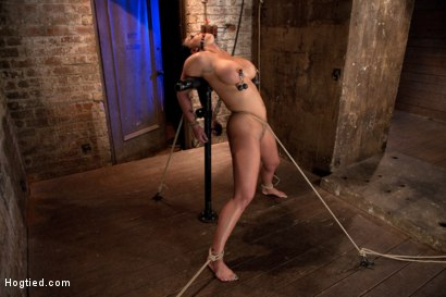 Photo number 10 from Hot 20 something with huge tits<br>Hair tied back, gagged, bent, brought to her toes Brutal Orgasms! shot for Hogtied on Kink.com. Featuring Mackenzee Pierce in hardcore BDSM & Fetish porn.