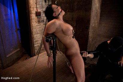 Photo number 12 from Hot 20 something with huge tits<br>Hair tied back, gagged, bent, brought to her toes Brutal Orgasms! shot for Hogtied on Kink.com. Featuring Mackenzee Pierce in hardcore BDSM & Fetish porn.