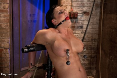 Photo number 6 from Hot 20 something with huge tits<br>Hair tied back, gagged, bent, brought to her toes Brutal Orgasms! shot for Hogtied on Kink.com. Featuring Mackenzee Pierce in hardcore BDSM & Fetish porn.