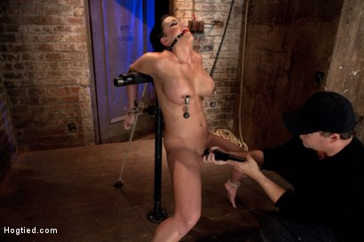 Photo number 7 from Hot 20 something with huge tits<br>Hair tied back, gagged, bent, brought to her toes Brutal Orgasms! shot for Hogtied on Kink.com. Featuring Mackenzee Pierce in hardcore BDSM & Fetish porn.