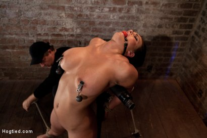 Photo number 8 from Hot 20 something with huge tits<br>Hair tied back, gagged, bent, brought to her toes Brutal Orgasms! shot for Hogtied on Kink.com. Featuring Mackenzee Pierce in hardcore BDSM & Fetish porn.