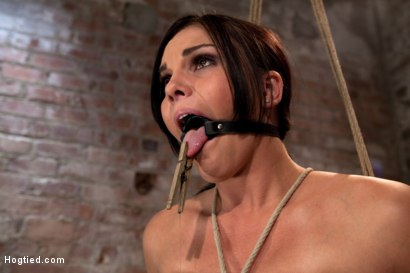 Photo number 11 from Bound in a chair with a vibrator perfectly stuck on her clit  Let's just watch her suffer and cum shot for Hogtied on Kink.com. Featuring Mackenzee Pierce in hardcore BDSM & Fetish porn.
