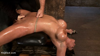 Photo number 12 from Cute girl with massive tits, bound & oiled   Pussy flogged, fingered, made to cum over & over. shot for Hogtied on Kink.com. Featuring Mackenzee Pierce in hardcore BDSM & Fetish porn.